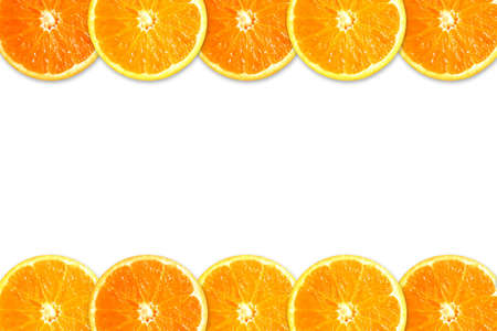 Two rows of orange slices isolated in white background Stock Photo - 2422797