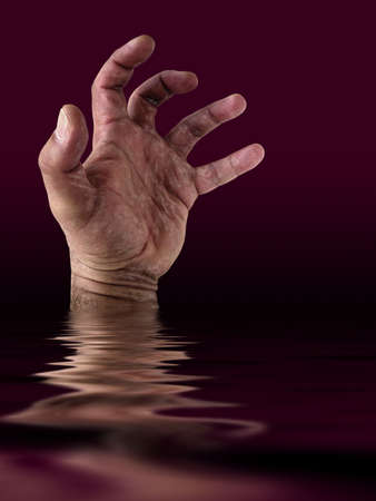 gasp: A photo of a mans hand drowning on the ocean.