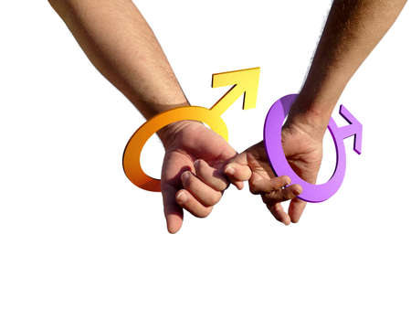 Two gay men holding hands with male simbol as bracelets. Stock Photo - 2422788