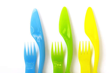 knifes: Colorfull plastic forks and knifes, suitable to childrens meals.
