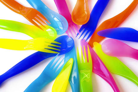 baby cutlery: Colorfull plastic spoons, forks and knifes, suitable to childrens meals.