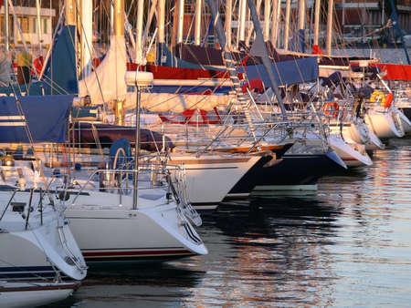 docked: Marina with docked yatchs. Stock Photo