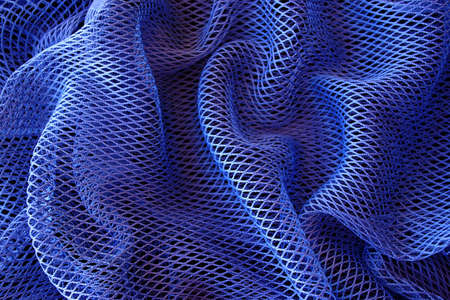 Abstract background of deep blue fishing net bag.