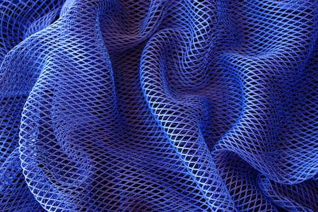redes de pesca: Resumen de fondo de color azul profundo bolsa de red de pesca.  Foto de archivo
