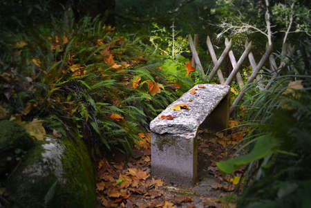 Edilic autumn scene with fallen leafs, a fence and a stone bench in a park. photo