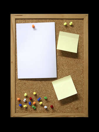 Corkboard with blank paper, pins and post-it. photo