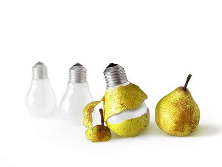 Pear shape light bulb with pear peel. photo