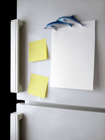 fridge: Blank paper and post-it on refrigerator door. Stock Photo