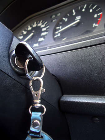 Ignition key inside of a car in a low angle of view. Stock Photo - 2427000