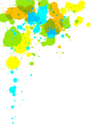 Illustration of multi-colored paint splashes on white background. Stock Photo