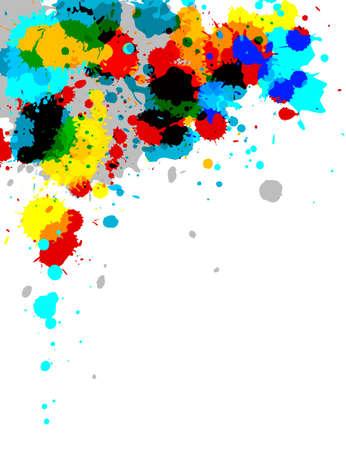Illustration of multi-colored paint splashes on white background. Stock Photo