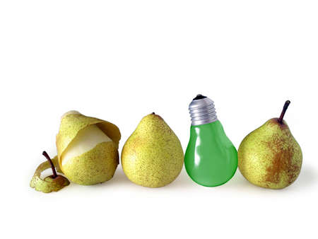 genuine good: Three pears and green pear-shape lamp bulb isolated in white background.