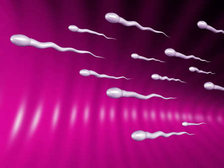 coitus: 3D illustration of sperms racing to the egg