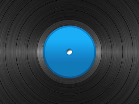 discjockey: Illustration of vinyl longplay record with blue label.