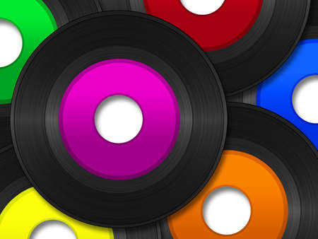 A pile of 45 RPM vinyl records with multi colored labels.