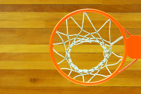 Elevated perspective of a basketball goal