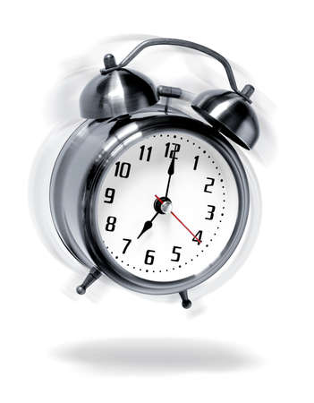 despertarse: Old-moda despertador sonando, agitaci�n y saltando como locos
