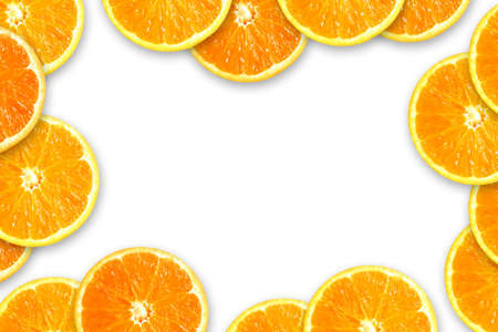 A frame of orange slices isolated in white background Stock Photo - 3280852