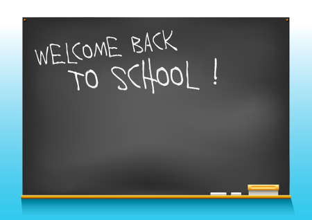 illustration of a school blackboard saying welcome back to school Illustration