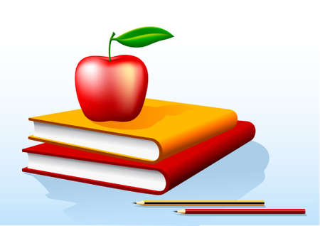 illustration of two books and a red apple on top Vektorové ilustrace