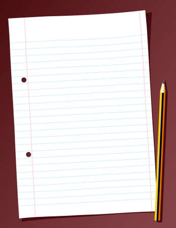 todo: Illustration of a blank ligned sheet of paper and a pencil Illustration