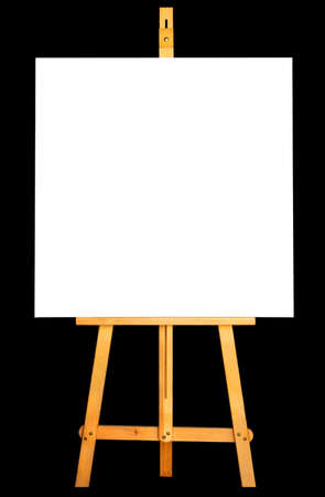 Photo of canvas and easel isolated in black background Stock Photo - 3409959