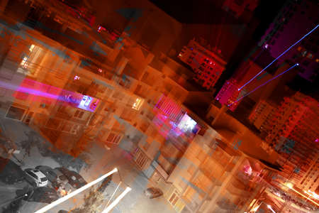 Abstract background of city streets with lights with zoom effect photo