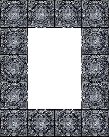 Metallic photo frame of tiles of a beautiful carved floral work photo