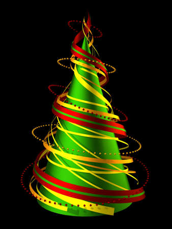3D render abstract christmas tree made of swirling ribbons photo
