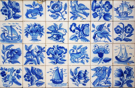 Pattern of Portuguese ancient hand-painted tiles