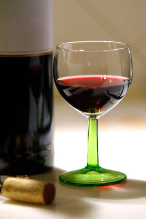 Red wine glass and bottle with blank label Stock Photo - 3874594