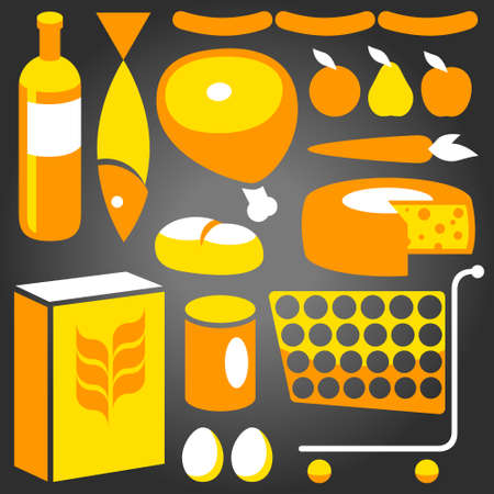 troley: Illustration of assorted basic food supplies from a supermaket