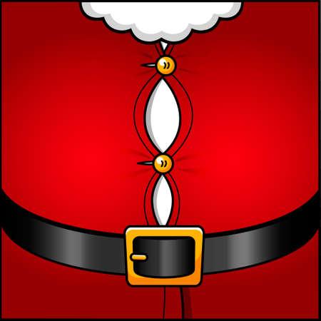 buikje: Illustratie van korte Kerst man pak over zijn dikke buik
