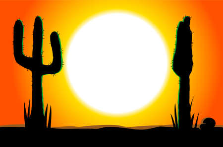 Tex Mex food concept with sunset and two desert cactus silhouettes