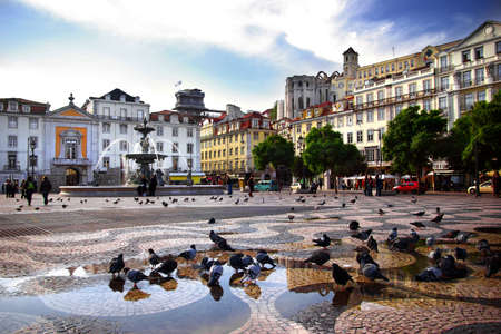 lisbon: Panorama of Rossio Square in old downtown Lisbon, Portugal