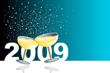 Blue illustration with two glasses of champagne in a new year celebration. Vector