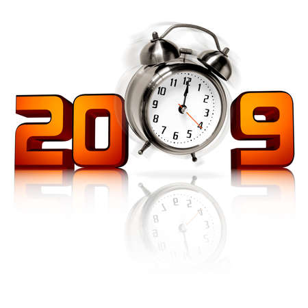 detach: New Year concept with 3D 2009 and jumping alarm clock at midnight