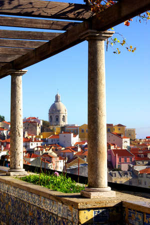 Panorama of a old traditional neighborhood in Lisbon