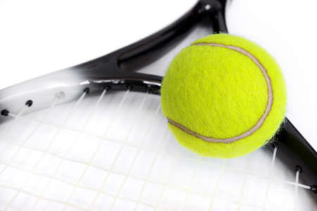 raquet: Photo of tennis racket and balls isolated on the white