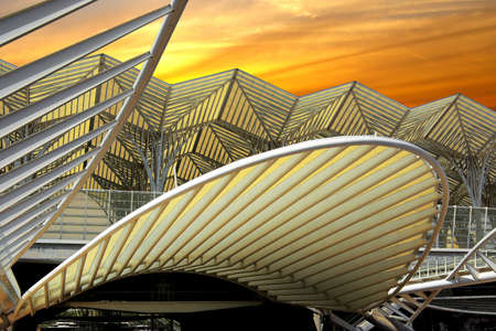 Modern architecture design in a train station in Lisbon