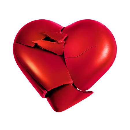 Photo with a broken heart isolated in white background Stock Photo