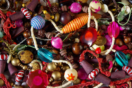Background of assorted necklaces with colorful glass beads photo