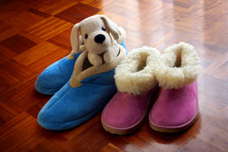 comfy: Two pairs of children warm bedroom slippers and teddy dog