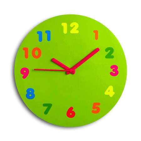 reloj de pared: Colorido y ronda juguete reloj aislados en fondo blanco Foto de archivo