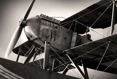 Detail of a old biplane from the nineteen-twenties in sepia tone Stock Photo