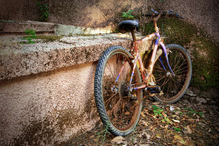 Old rusty bicycle parked against a wall in a park photo