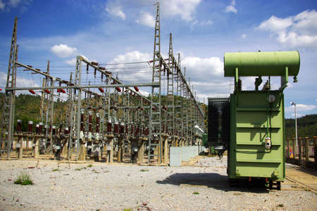 High tension wires and transformer in a power plant photo