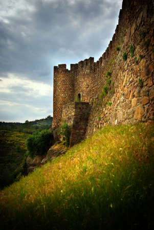 travel features: Wall of a medieval castle in Belver, Portugal Stock Photo