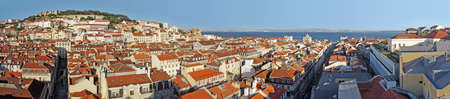 tagus: Panorama of old downtown Lisbon with St Jorge Castle and River Tagus Stock Photo