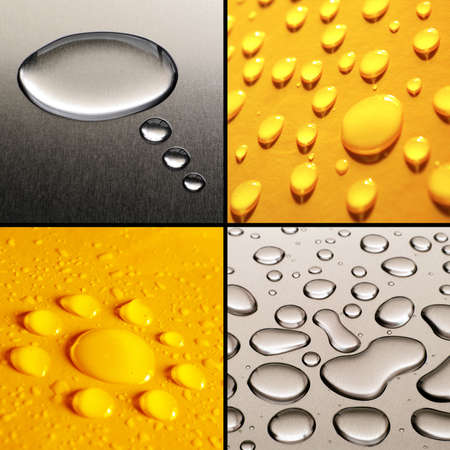 Collection of four water drops images in grey and yellow photo